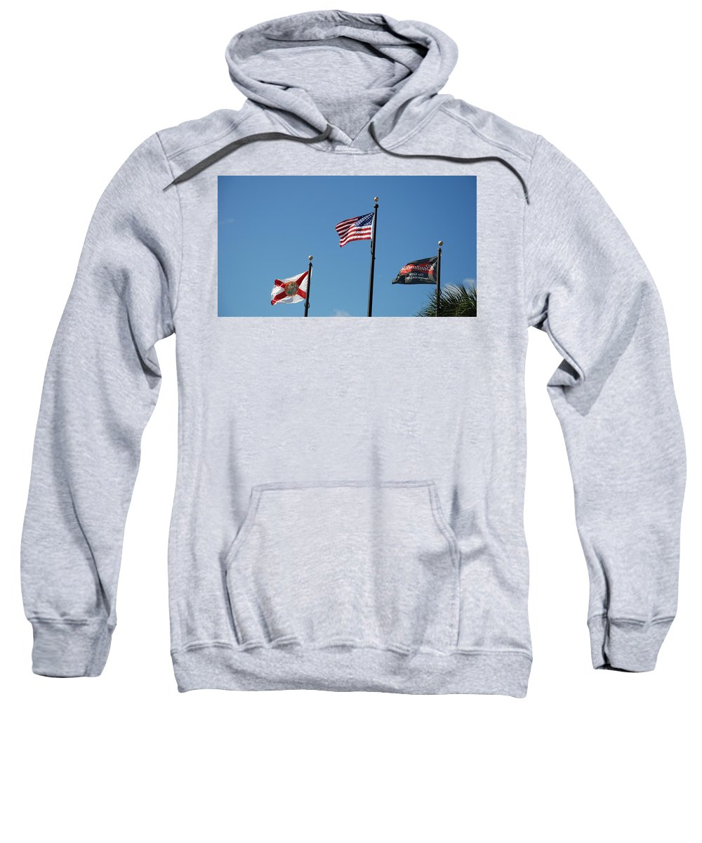 American Flag Sweatshirt featuring the photograph 3 Flags by Rob Hans