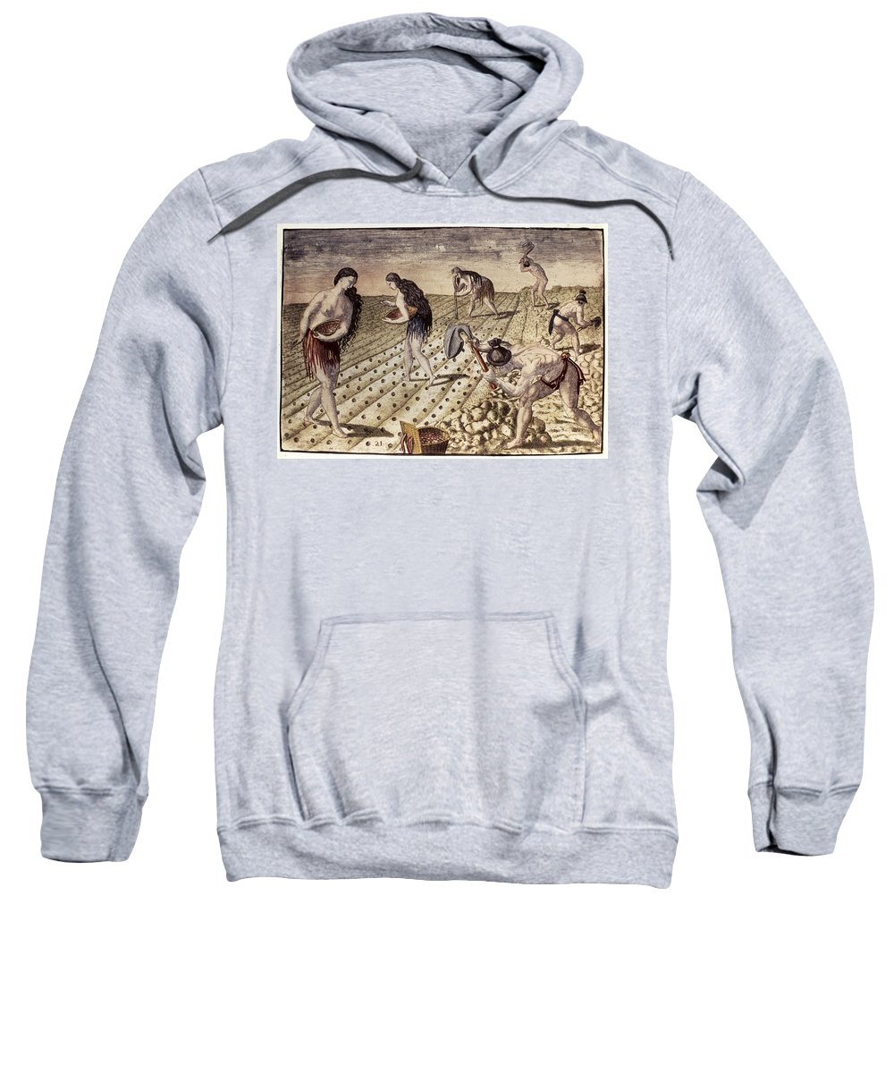 1591 Sweatshirt featuring the photograph Florida Native Americans, 1591 by Granger