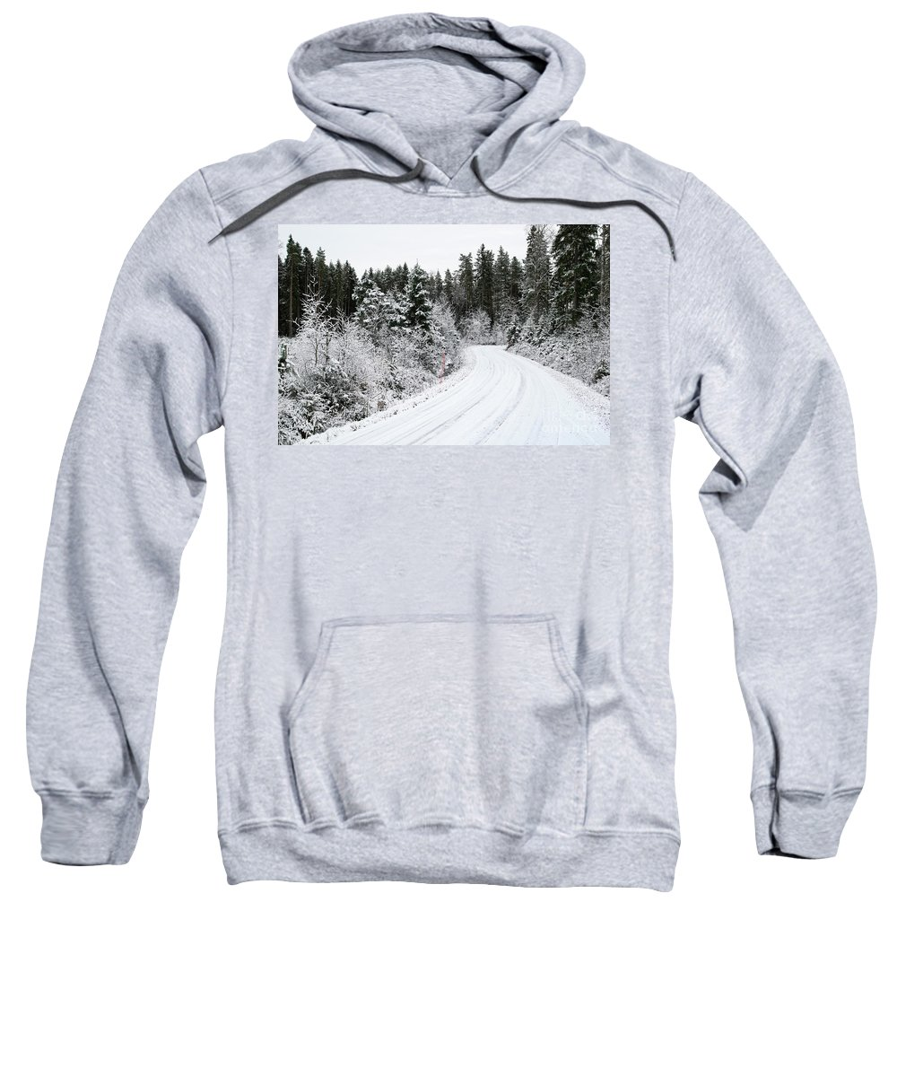 Snow Sweatshirt featuring the photograph Forest Road by Esko Lindell