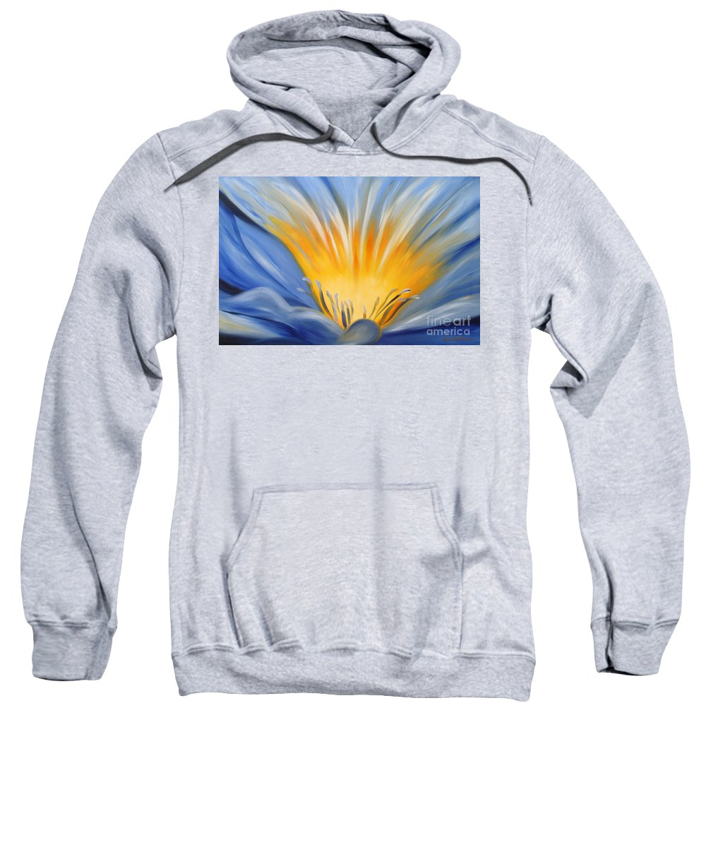 Flowers Sweatshirt featuring the painting From The Heart Of A Flower Blue by Gina De Gorna