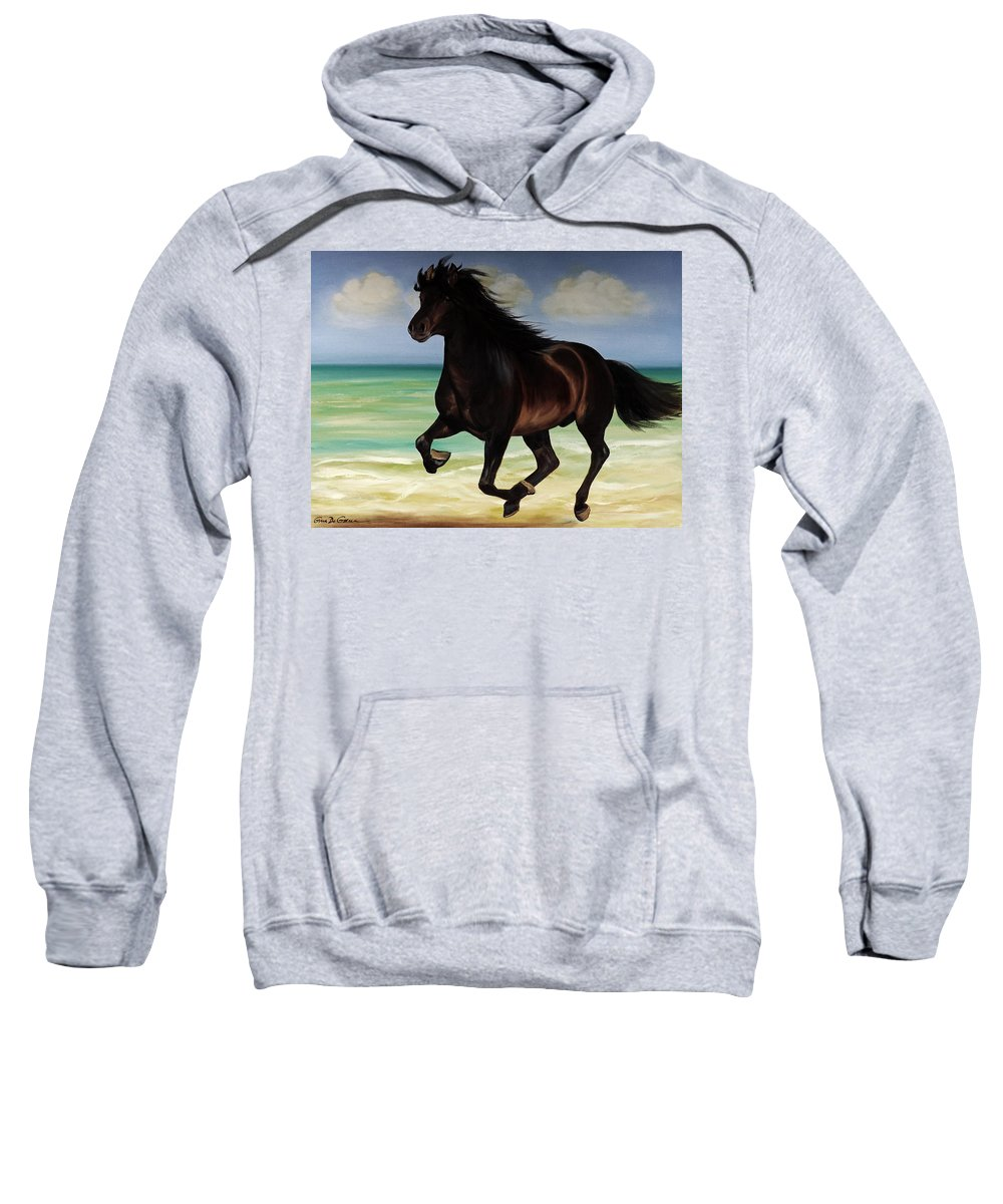 Horse Sweatshirt featuring the painting Horses In Paradise Run by Gina De Gorna