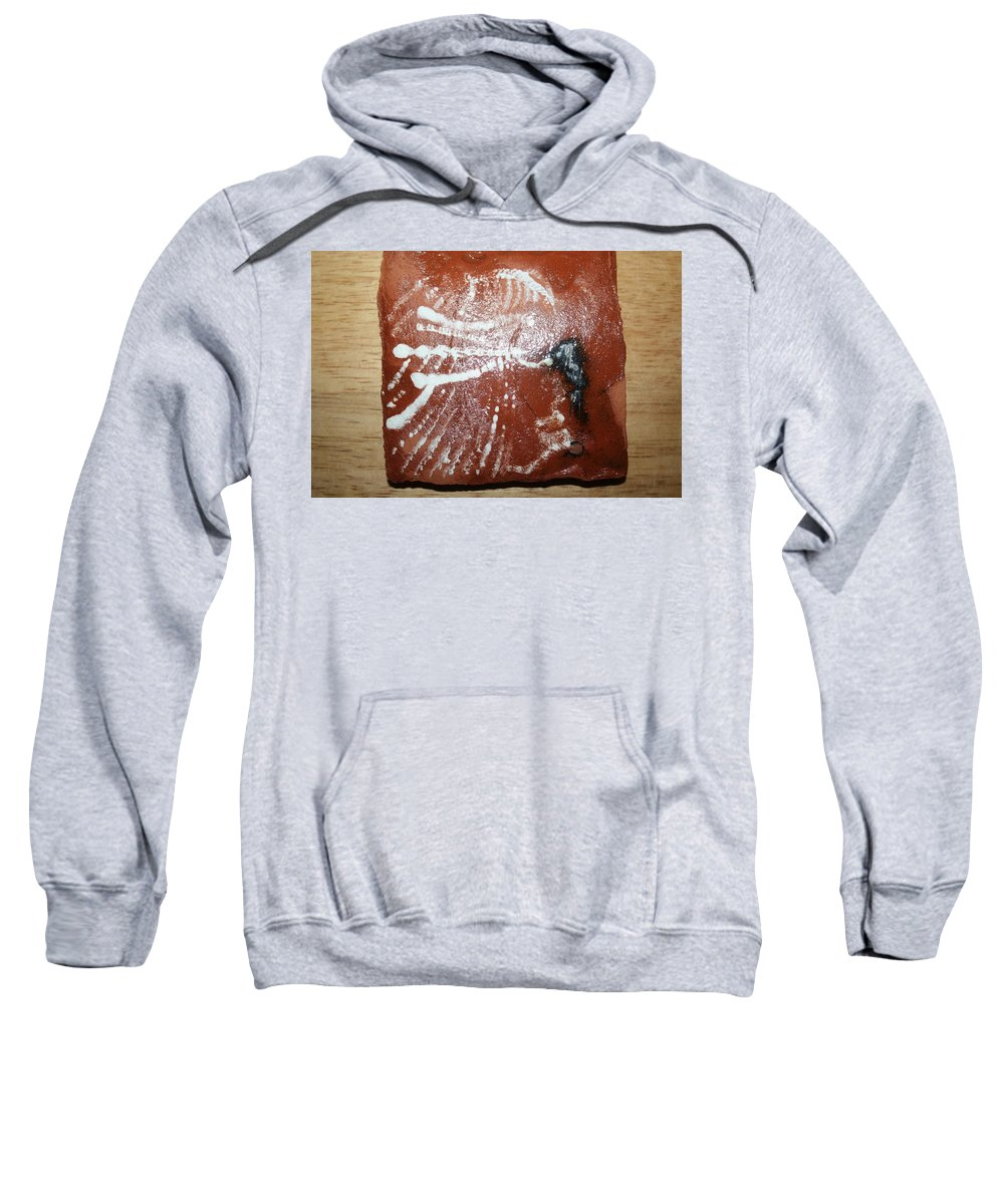 Jesus Sweatshirt featuring the ceramic art Last One - Tile by Gloria Ssali