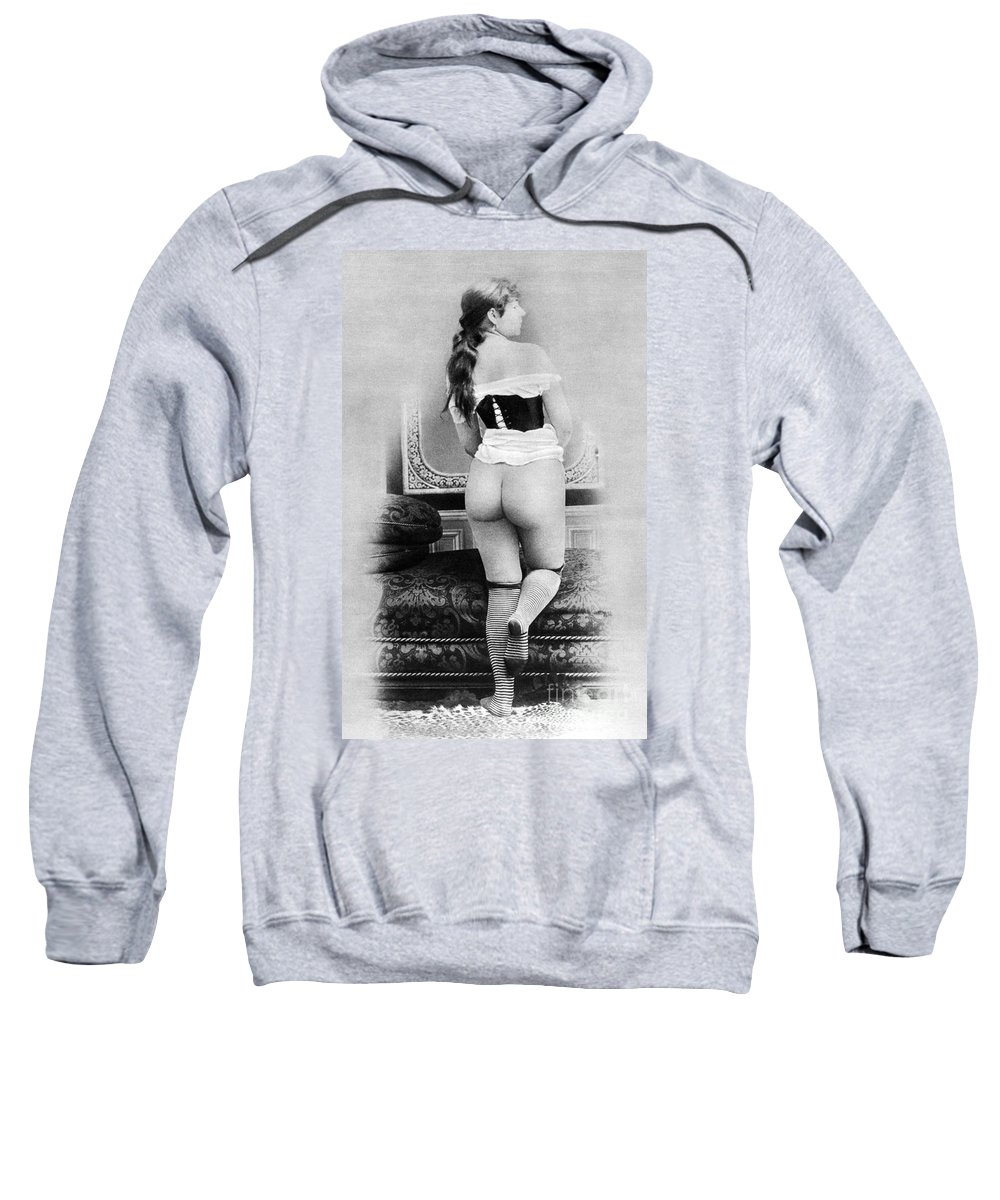 1885 Sweatshirt featuring the photograph Nude Posing: Rear View by Granger