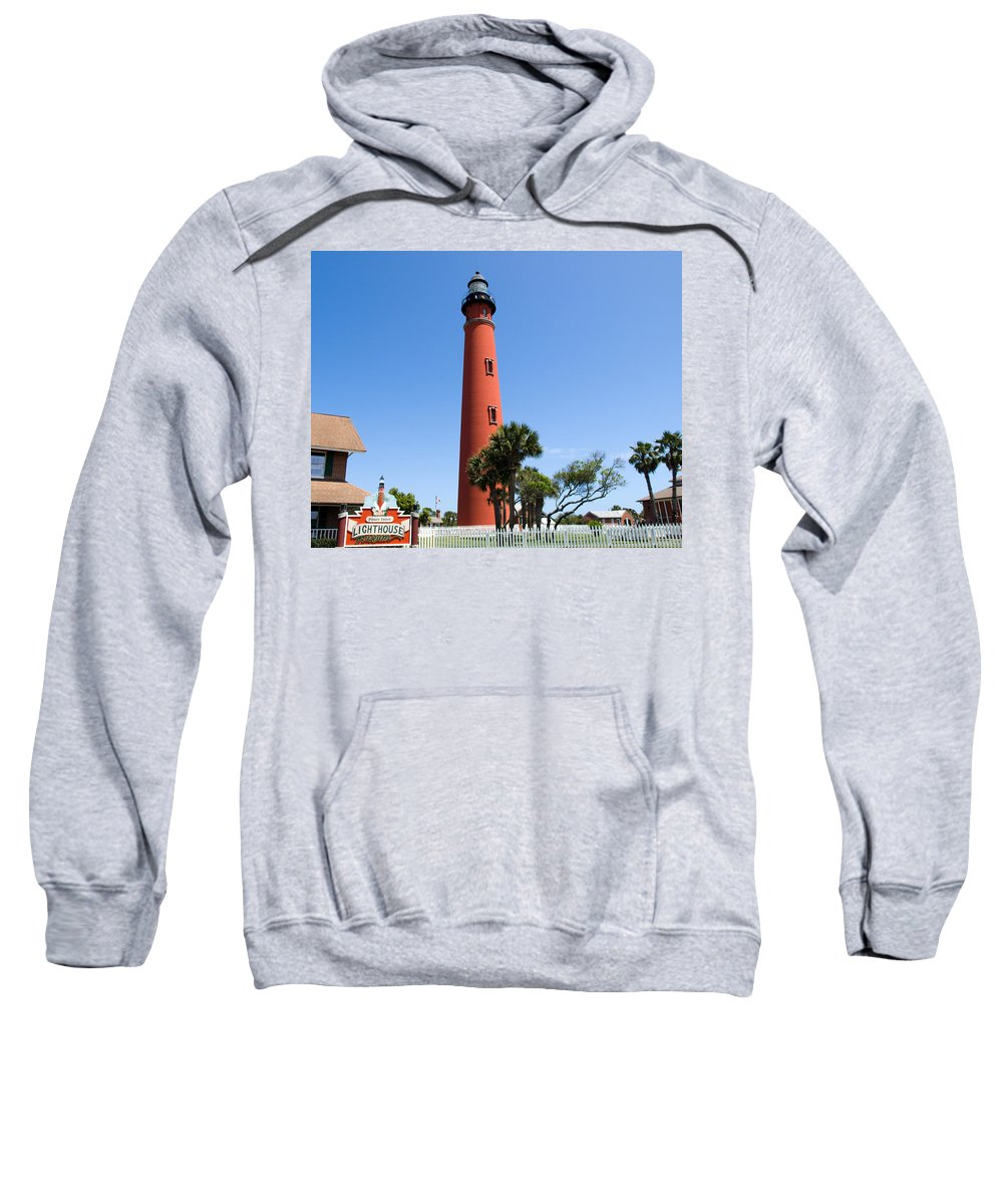 Ponce; De; Leon; Lighthouse; Light; House; Beacon; Navigation; Aid; Lens; Fresnel; Mosquito; Florida Sweatshirt featuring the photograph Ponce De Leon Inlet Lighthouse by Allan Hughes