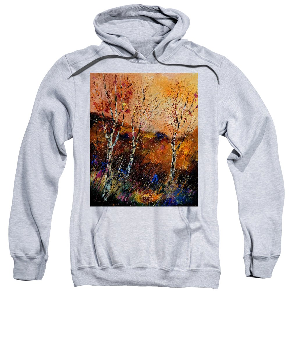 River Sweatshirt featuring the painting 3 Poplars by Pol Ledent