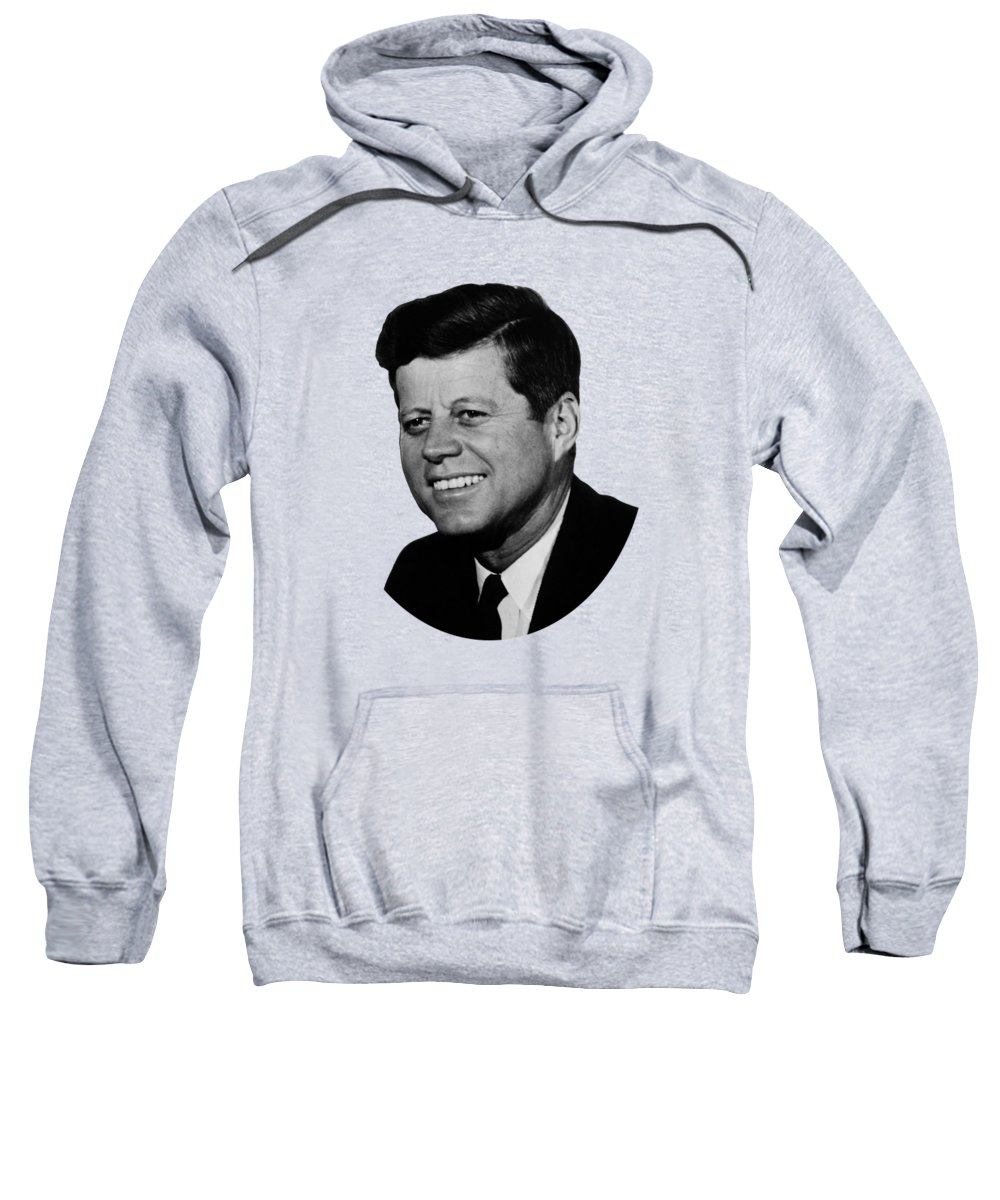 Jfk Sweatshirt featuring the photograph President Kennedy by War Is Hell Store