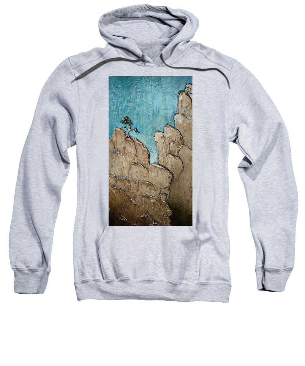 Landscape Sweatshirt featuring the painting Resurgence- Option B, Outdoor Lighting by Aeryn Lyte