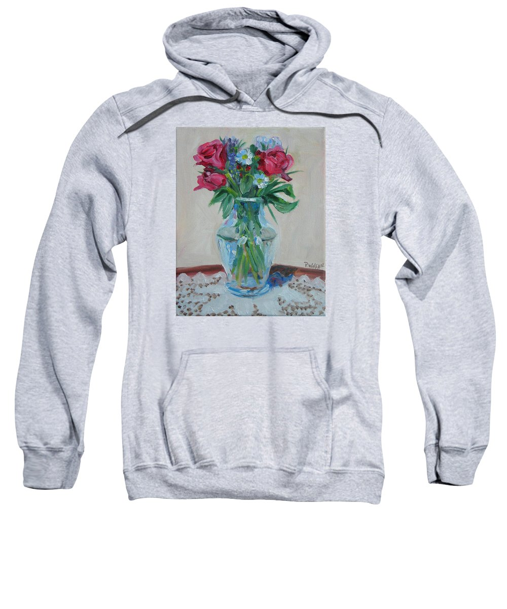 Roses Sweatshirt featuring the painting 3 Roses by Paul Walsh