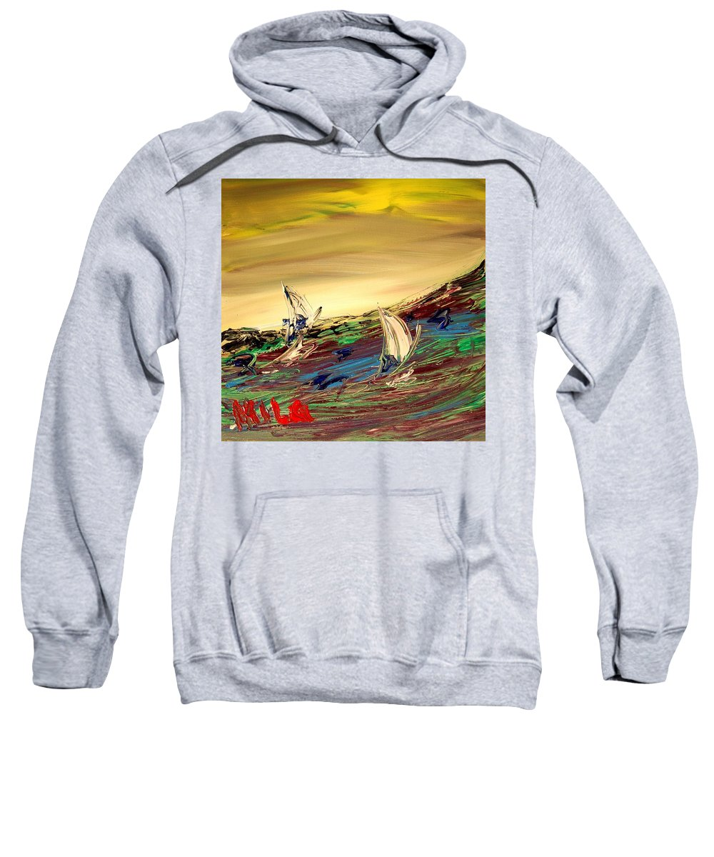 Surreal Framed Prints Sweatshirt featuring the painting Seascape by Mark Kazav