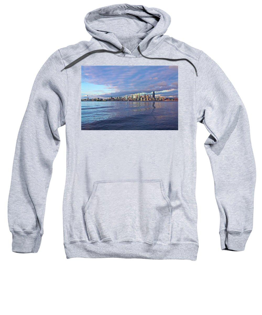 Beach Sweatshirt featuring the photograph Seattle Skyline Cityscape by SC Heffner