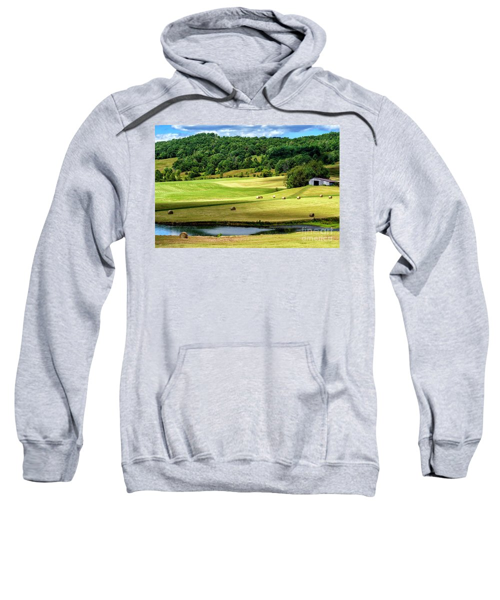 Summer Morning Sweatshirt featuring the photograph Summer Morning Hay Field by Thomas R Fletcher