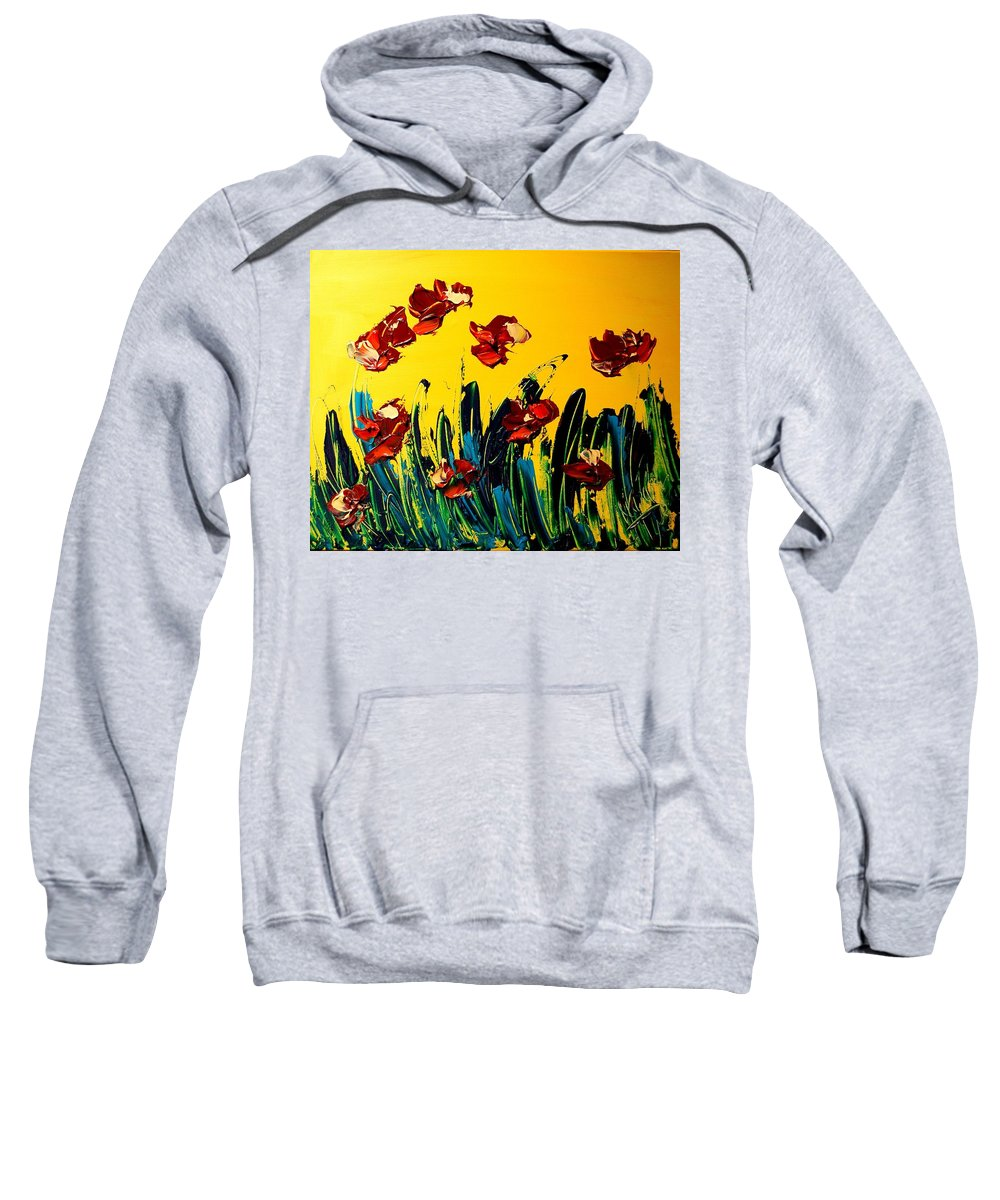 Newyork Sweatshirt featuring the painting Flowers by Mark Kazav