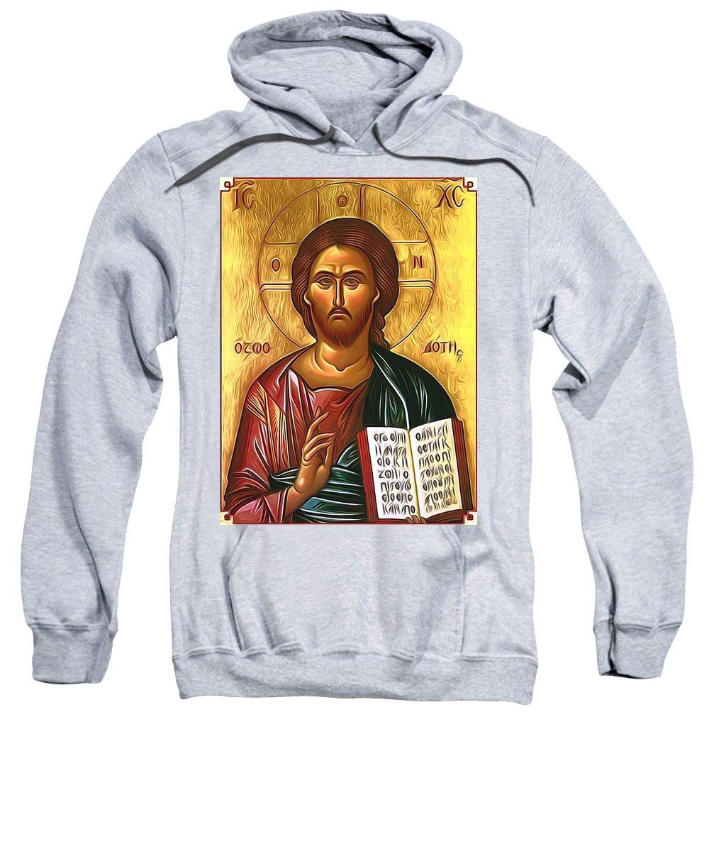 Jesus Sweatshirt featuring the digital art Jesus Christ Catholic Art by Carol Jackson