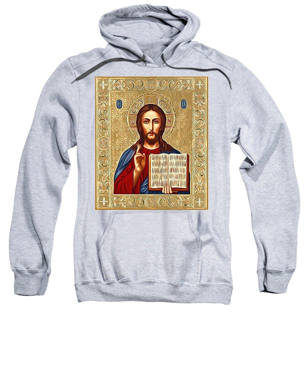 Jesus Sweatshirt featuring the digital art Jesus Christ Lord Savior by Carol Jackson