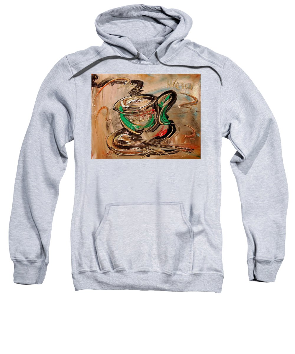 Surreal Framed Prints Sweatshirt featuring the painting Coffee by Mark Kazav
