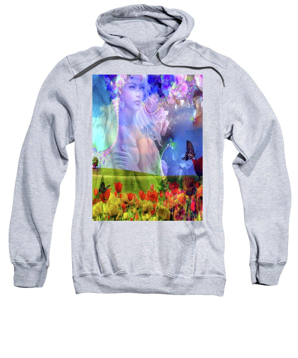 Adult Sweatshirt featuring the digital art Angel In A Field by Mitchell Watrous