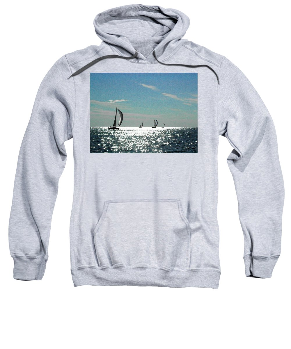 Fairhope Sweatshirt featuring the photograph 4 Boats On The Horizon by Michael Thomas