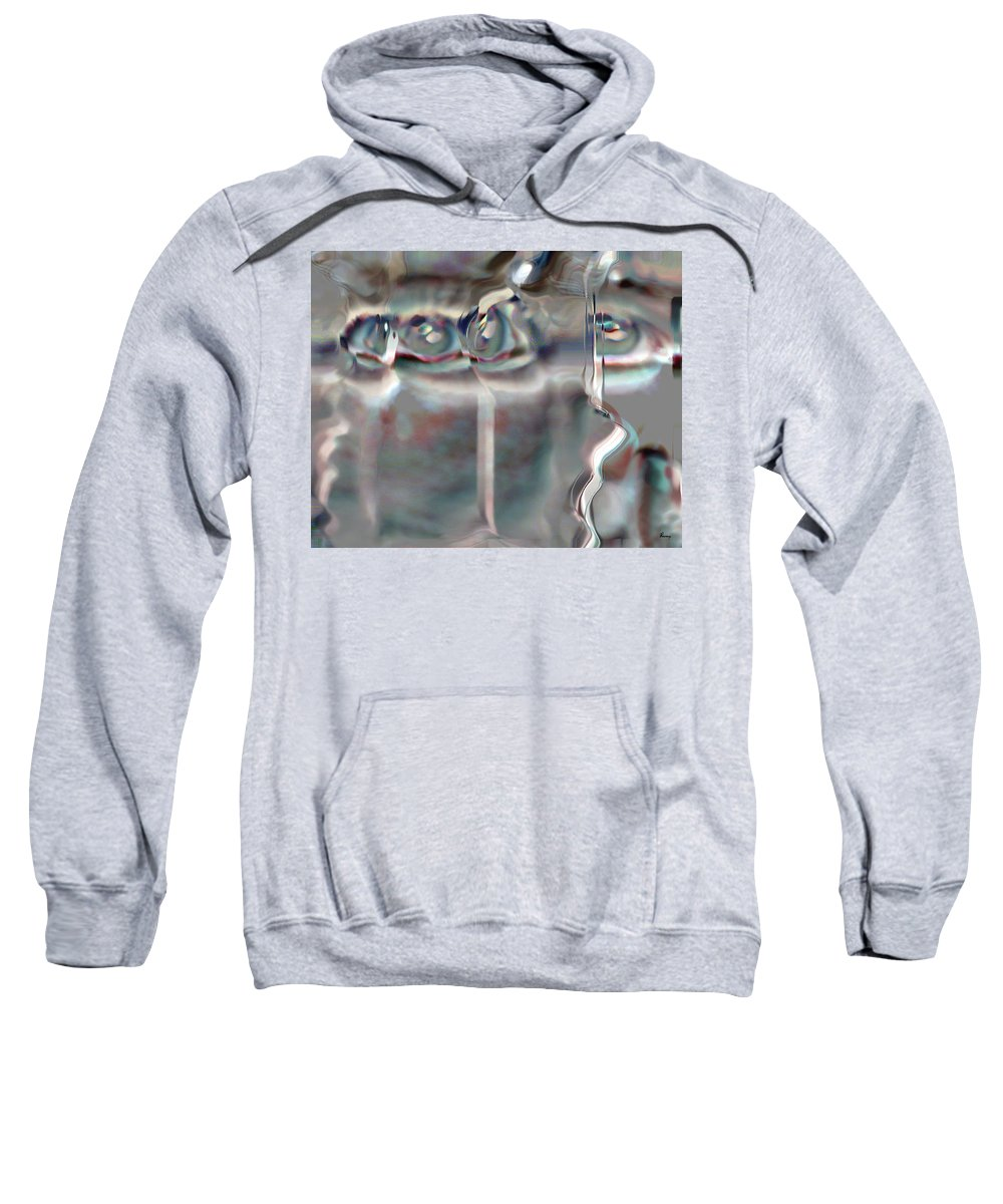Eyes Abstract Spooky Grey Gray Weird Faces Sweatshirt featuring the photograph 4 Eyes by Andrea Lawrence