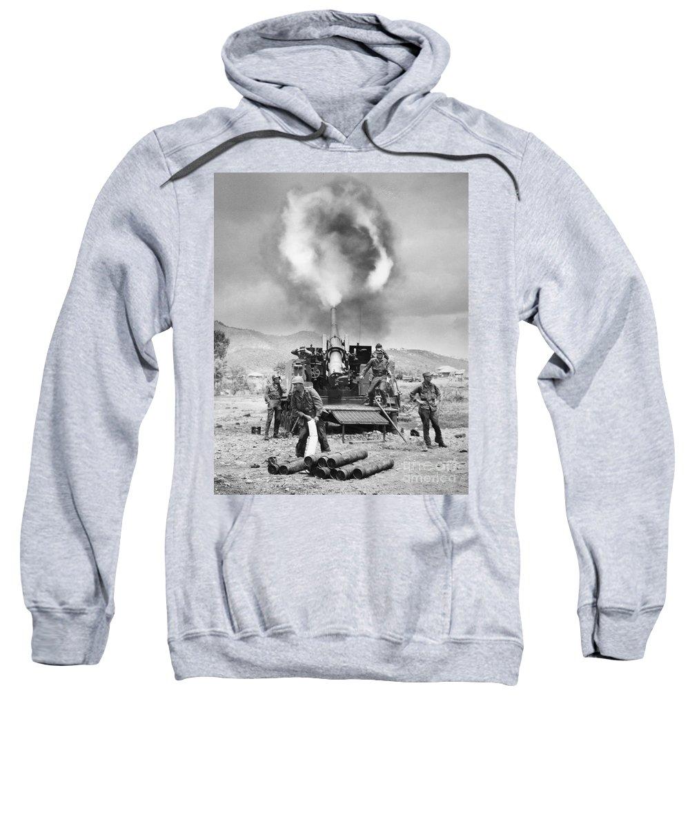 1951 Sweatshirt featuring the photograph Korean War: Artillery by Granger