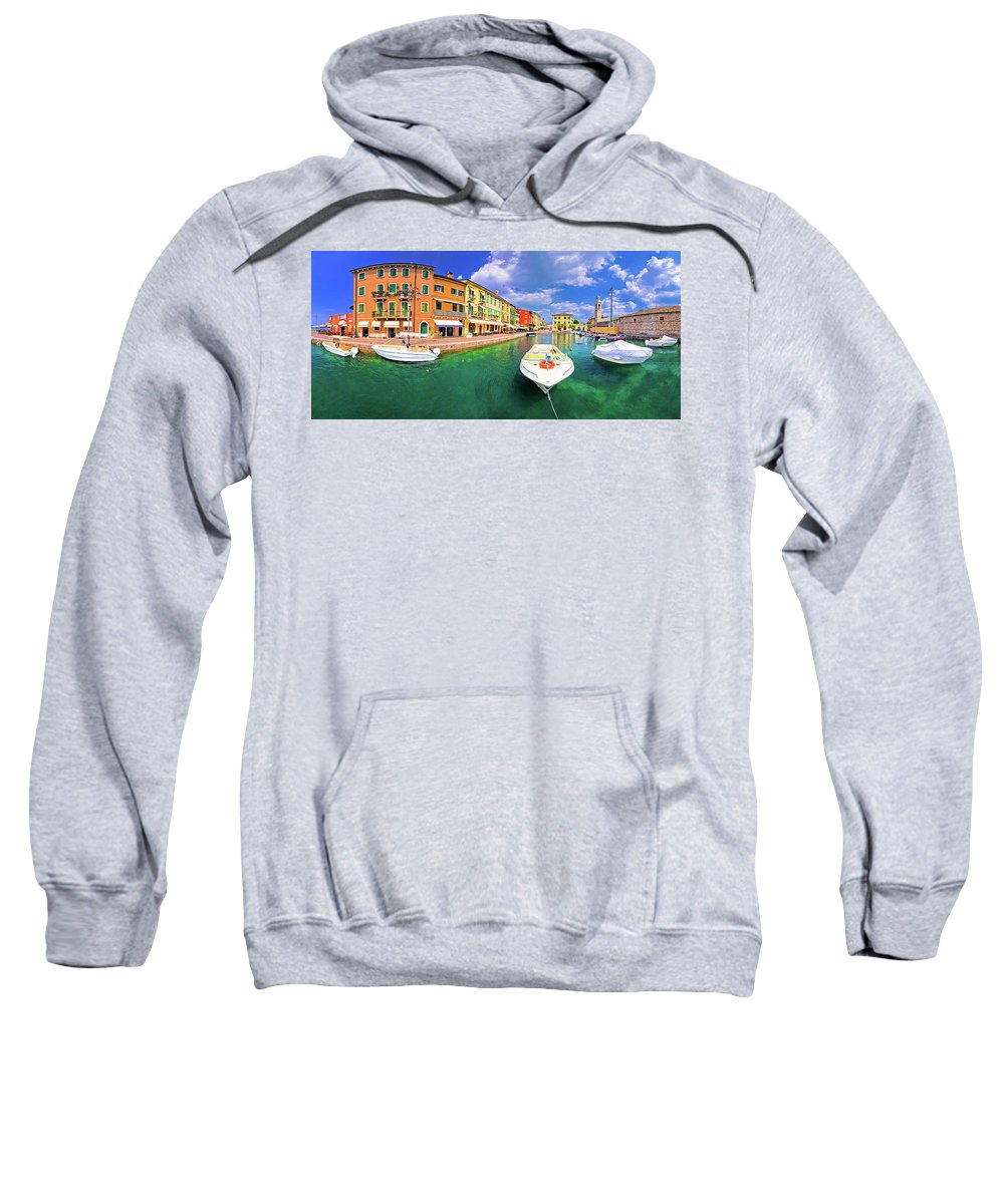 Lazise Sweatshirt featuring the photograph Lazise Colorful Harbor And Boats Panoramic View by Brch Photography