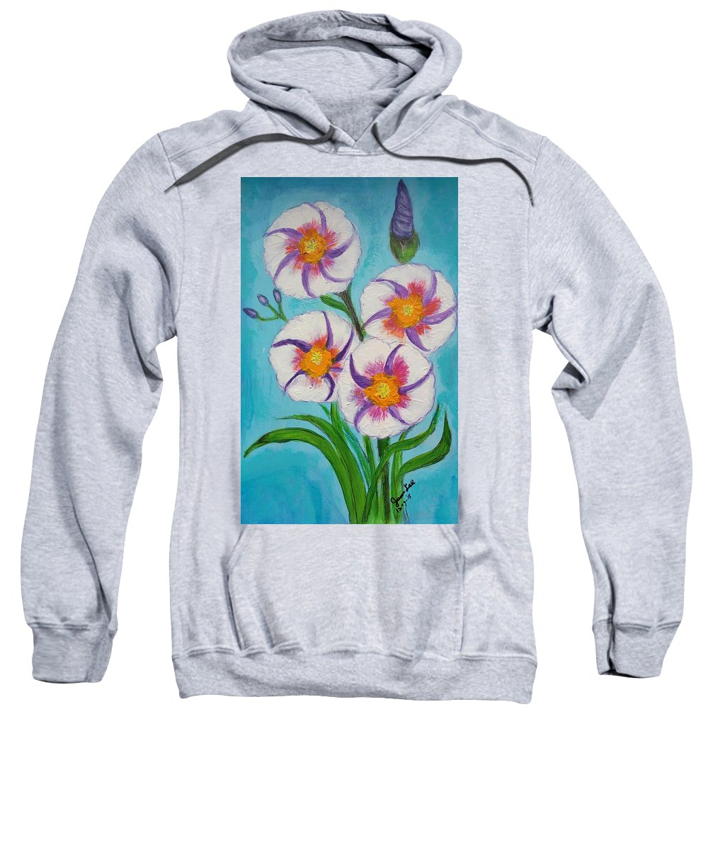 Floral Sweatshirt featuring the painting 4 Morning Glories Flowers by Jean Fassina