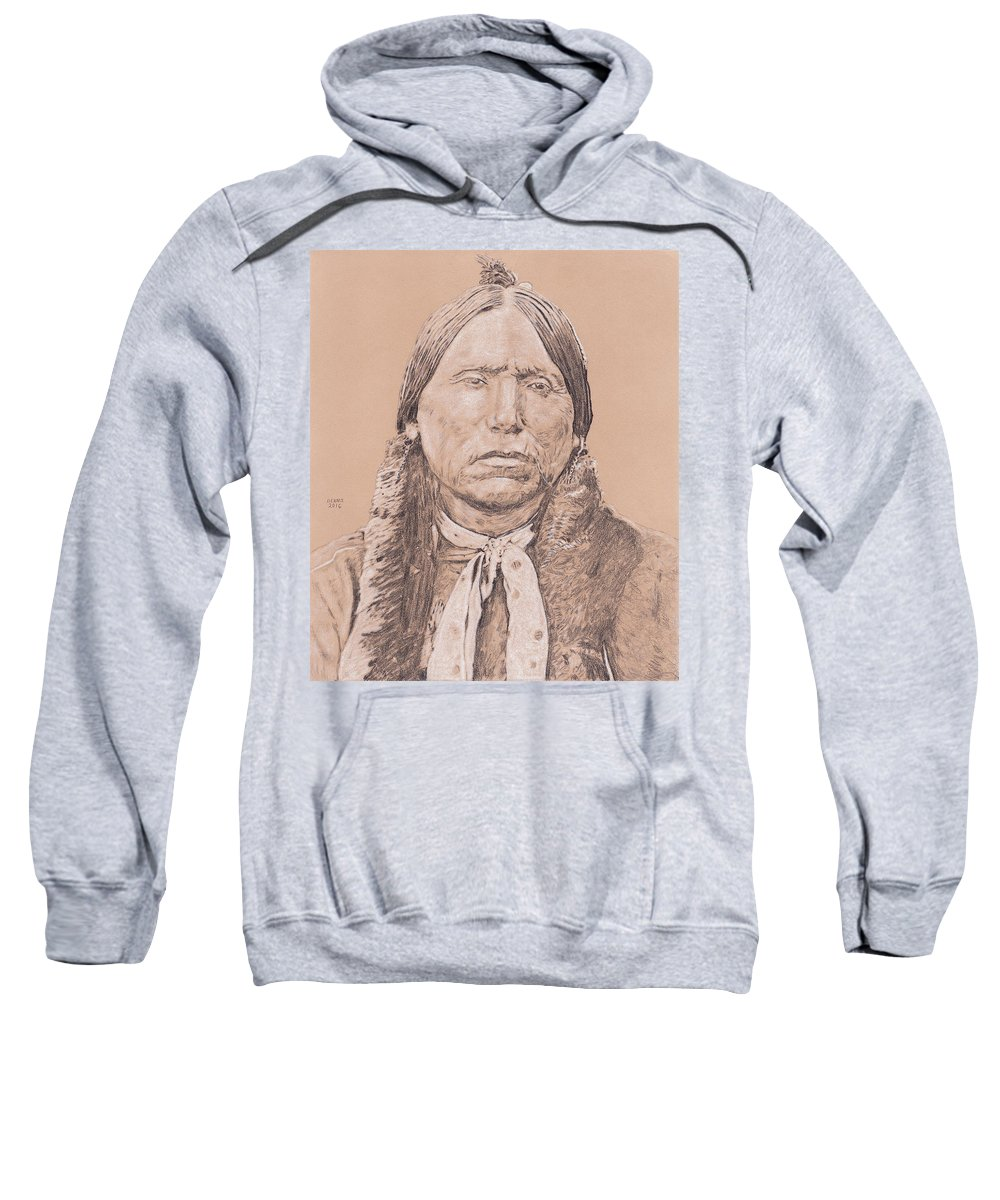 Quanah Sweatshirt featuring the drawing Quanah by Dennis Larson