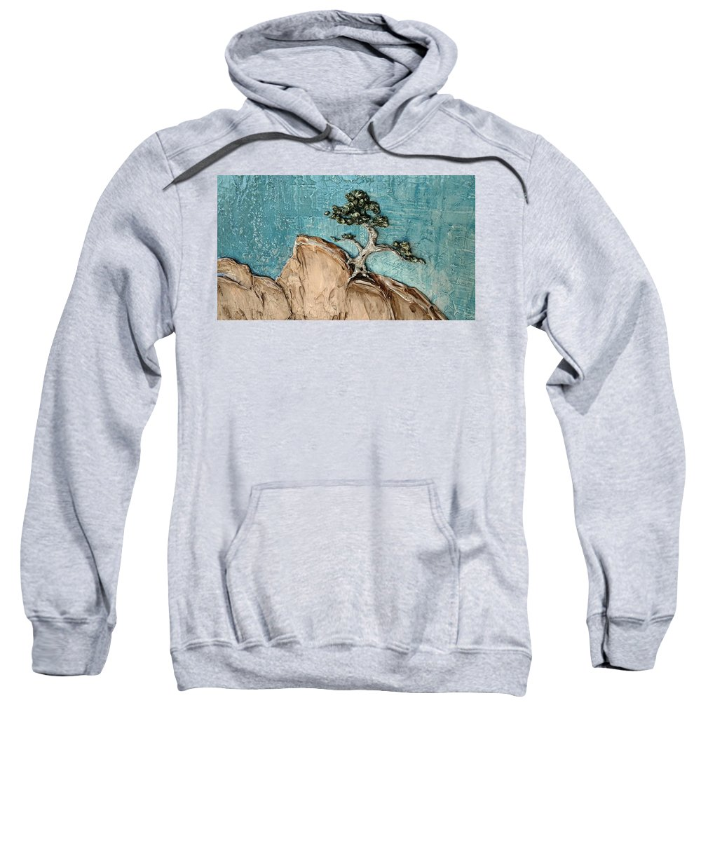 Landscape Sweatshirt featuring the painting Resurgence- Option A, Outdoor Lighting by Aeryn Lyte