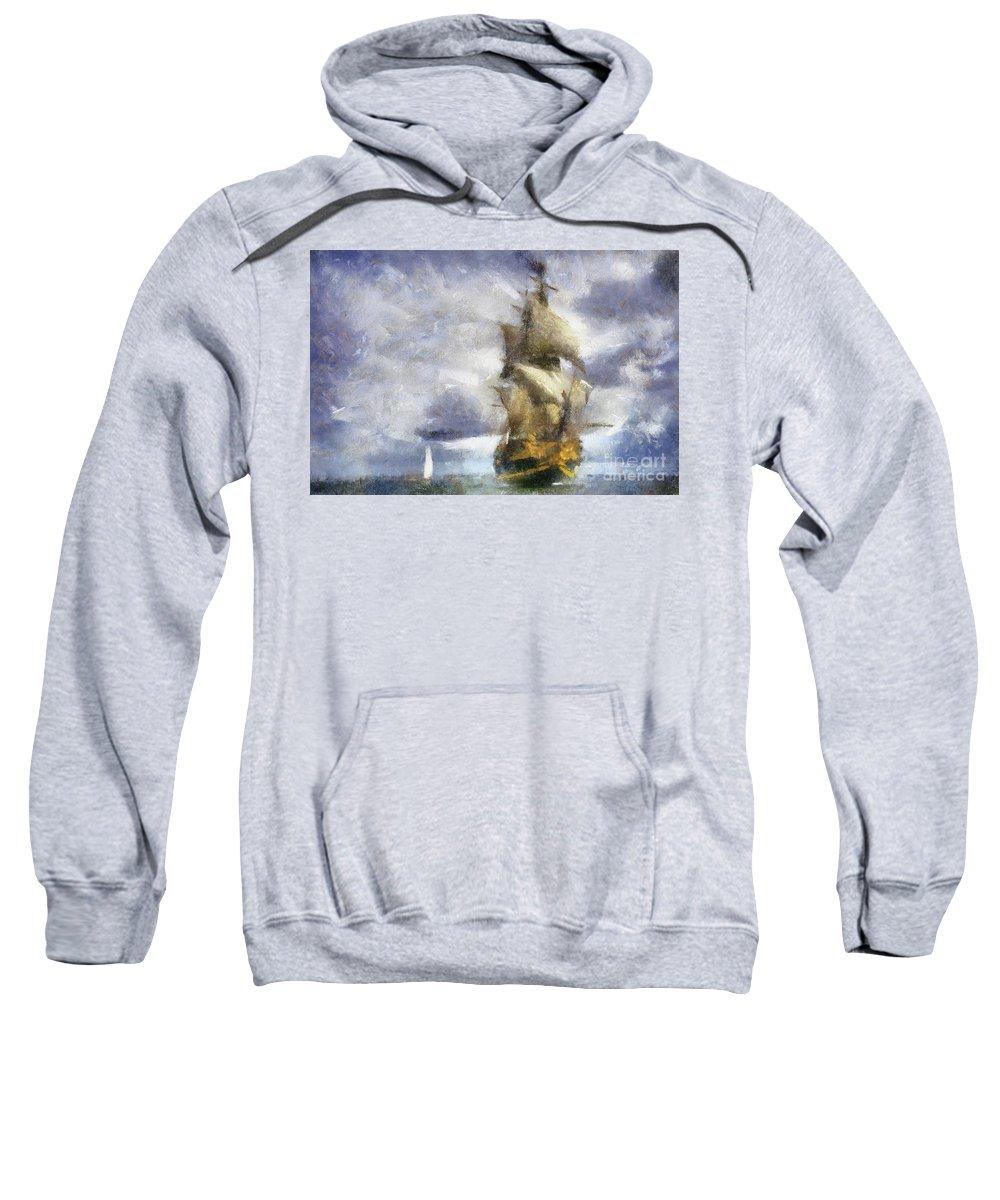 Ships Sweatshirt featuring the digital art Ships Ahoy by Sobano S