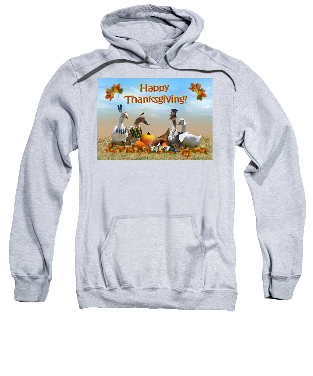 Thanksgiving Sweatshirt featuring the mixed media Thanksgiving Ducks by Gravityx9 Designs