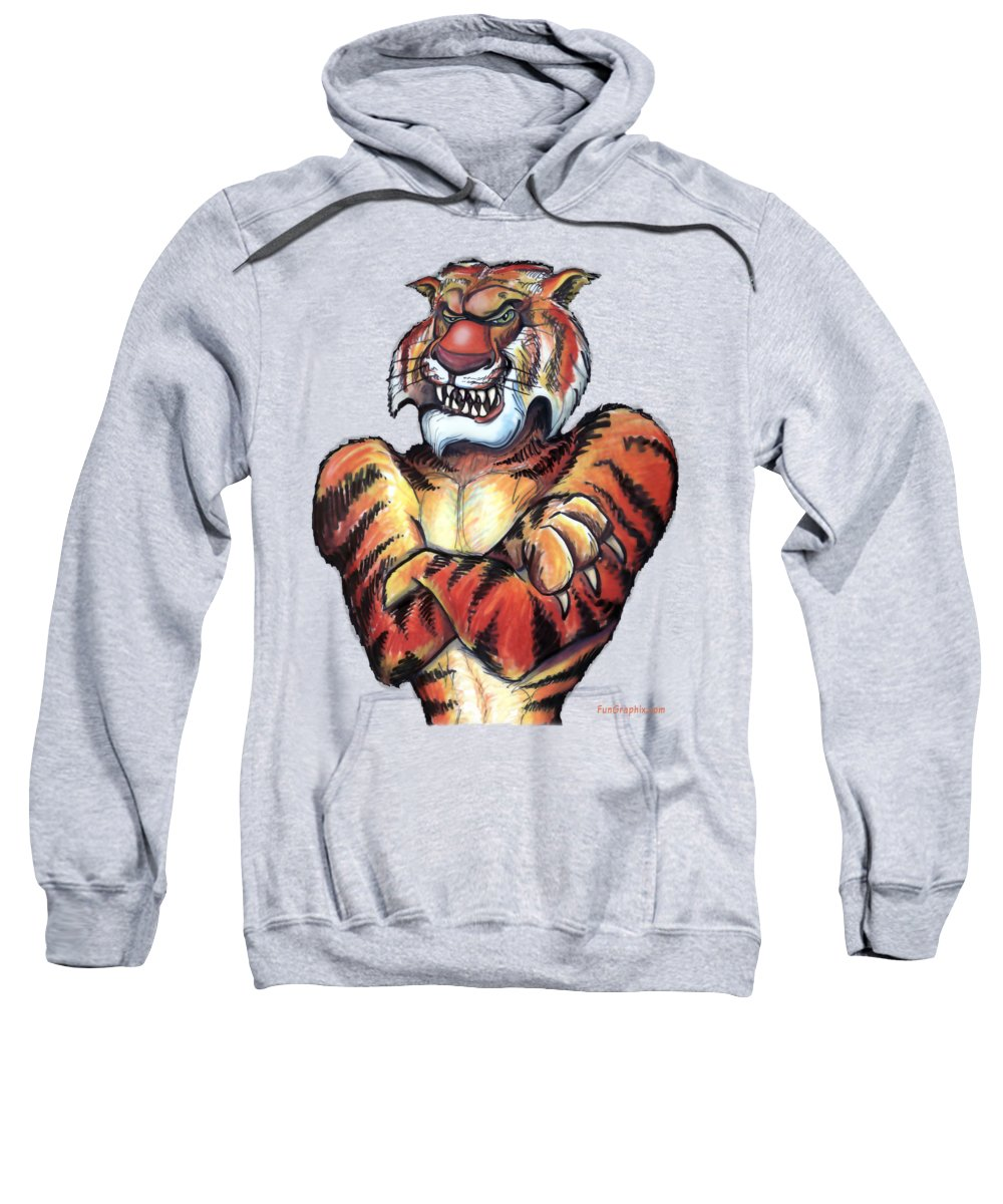 Tiger Sweatshirt featuring the painting Tiger by Kevin Middleton