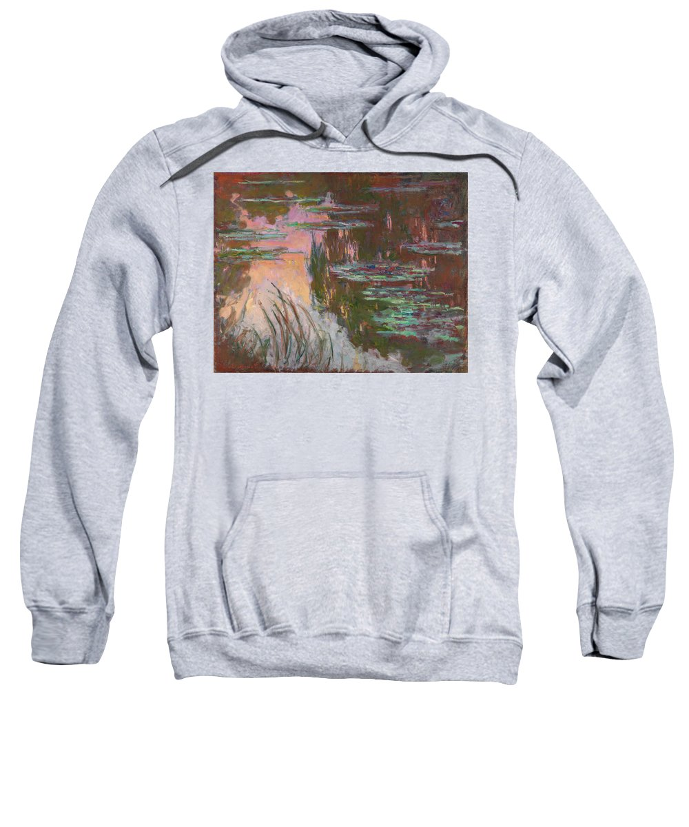 Setting Sun Sweatshirt featuring the painting Water Lilies, Setting Sun by Claude Monet