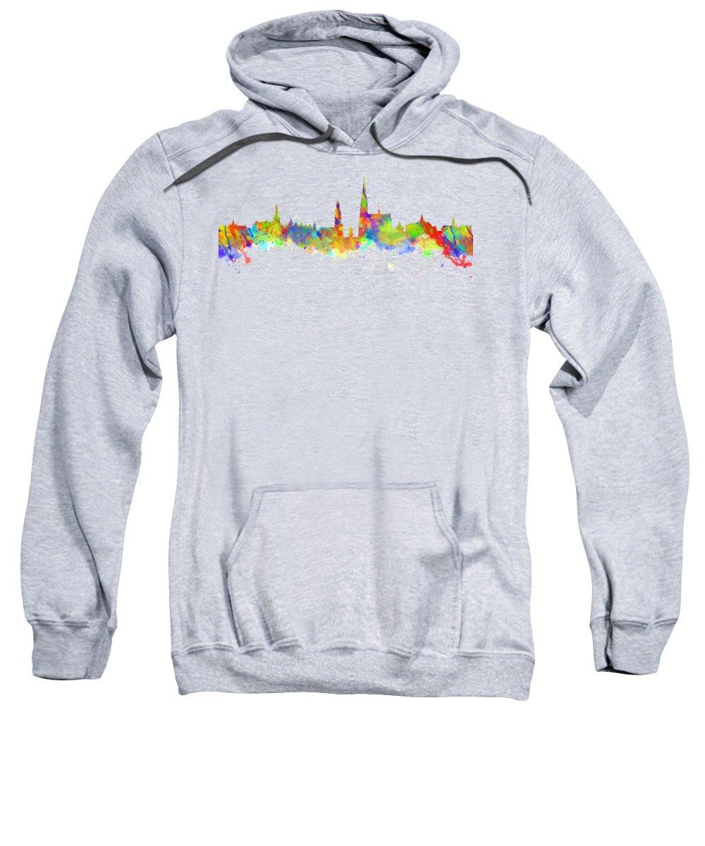 Antwerp Sweatshirt featuring the photograph Watercolor Art Print Of The Skyline Of Antwerp In Belgium by Chris Smith