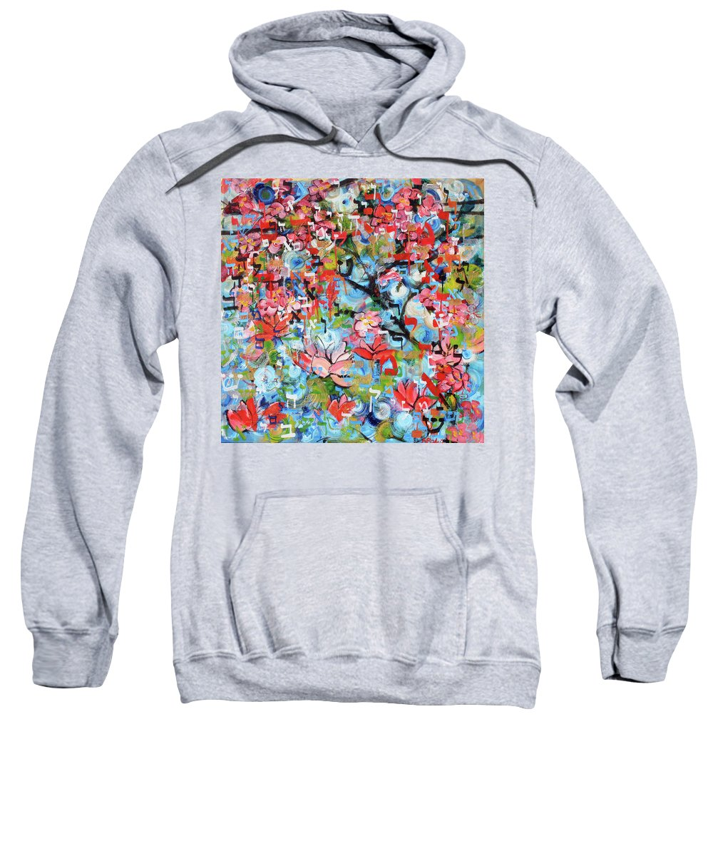 Bereishis Sweatshirt featuring the painting 3rd Day Of Creation 201808 by Alyse Radenovic
