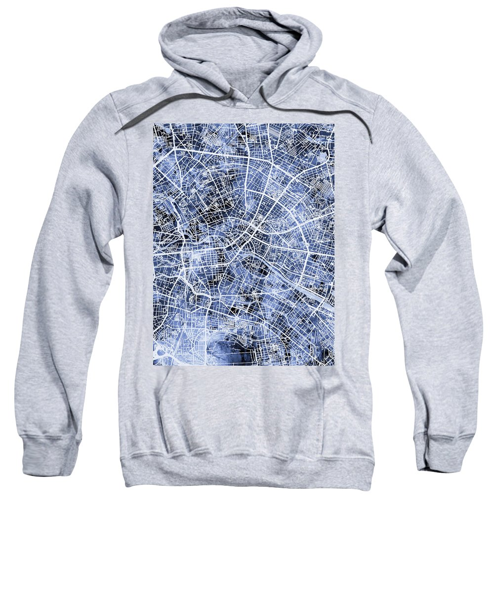 Berlin Sweatshirt featuring the digital art Berlin Germany City Map by Michael Tompsett