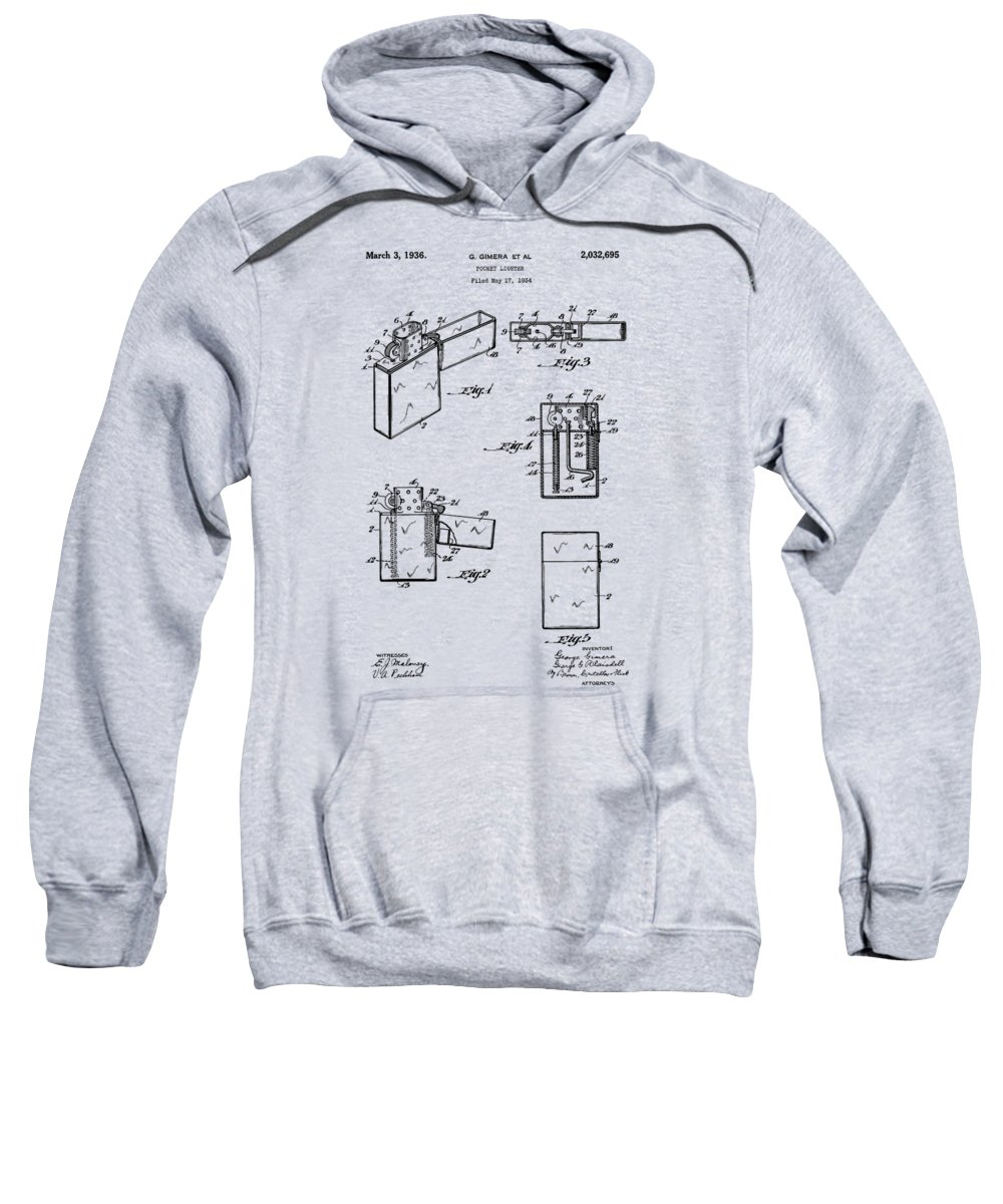 Lighter Sweatshirt featuring the photograph Lighter Patent From 1934 by Chris Smith