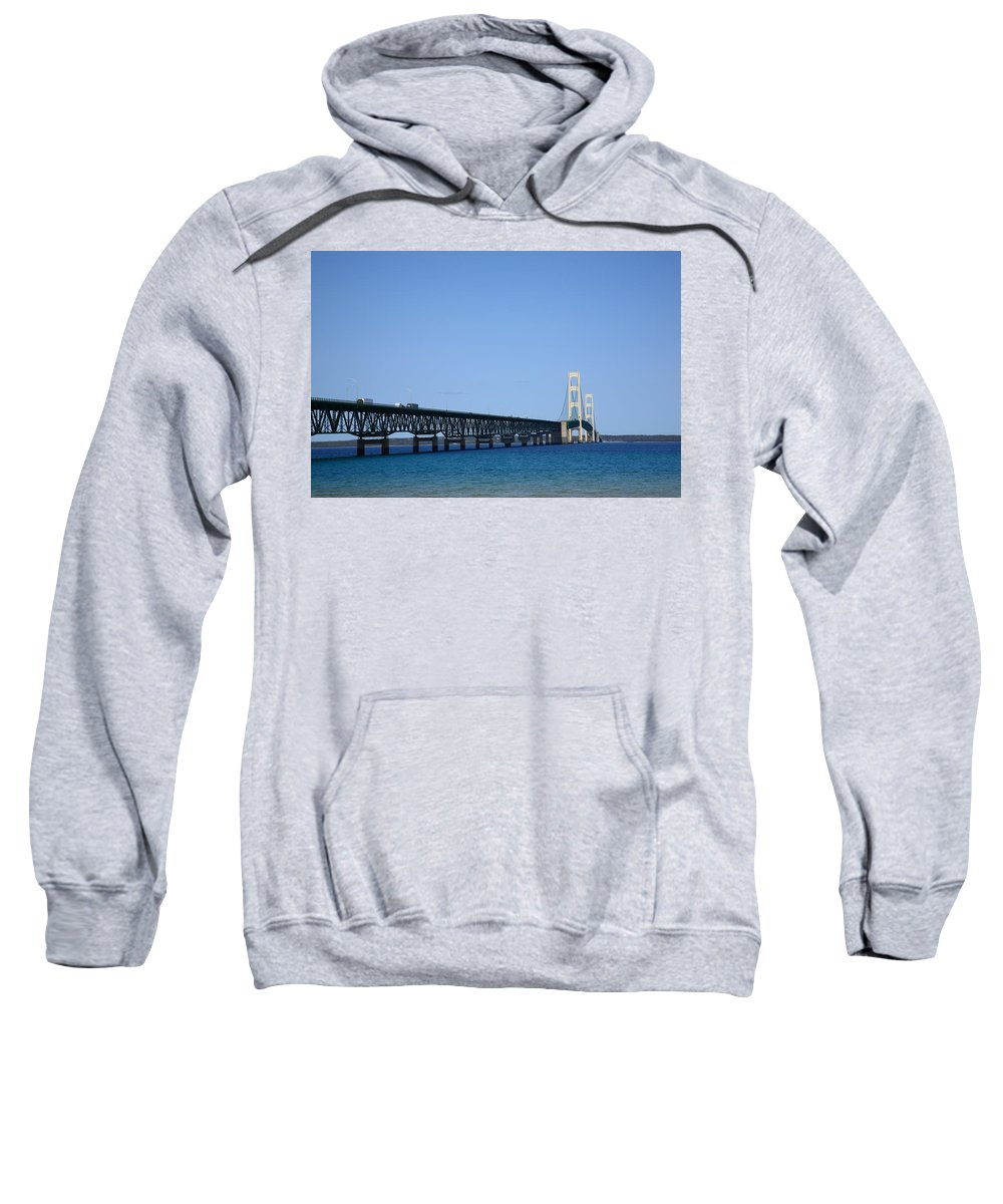 America Sweatshirt featuring the photograph Mackinac Bridge by Frank Romeo