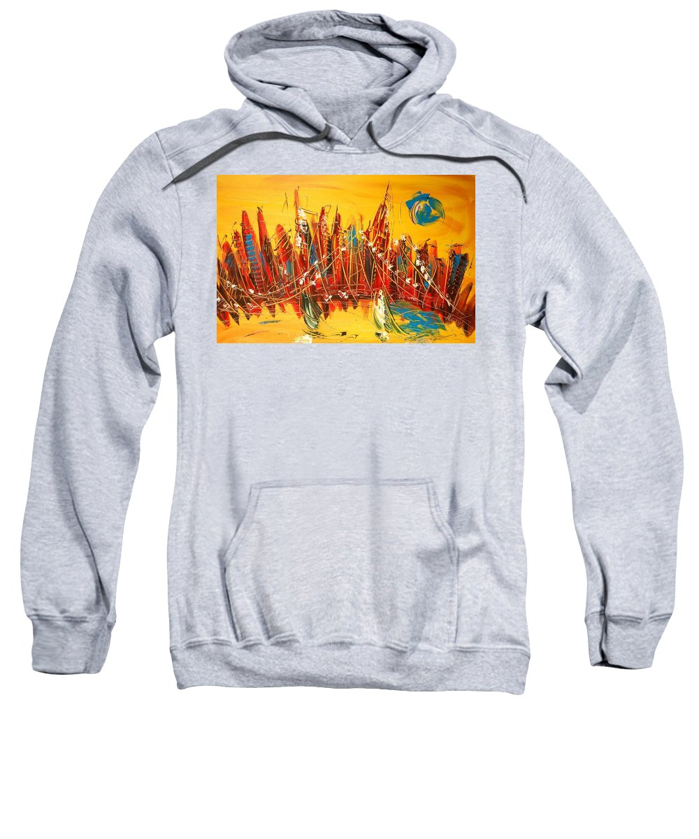 Landscape Framed Prints Sweatshirt featuring the painting Manhattan by Mark Kazav