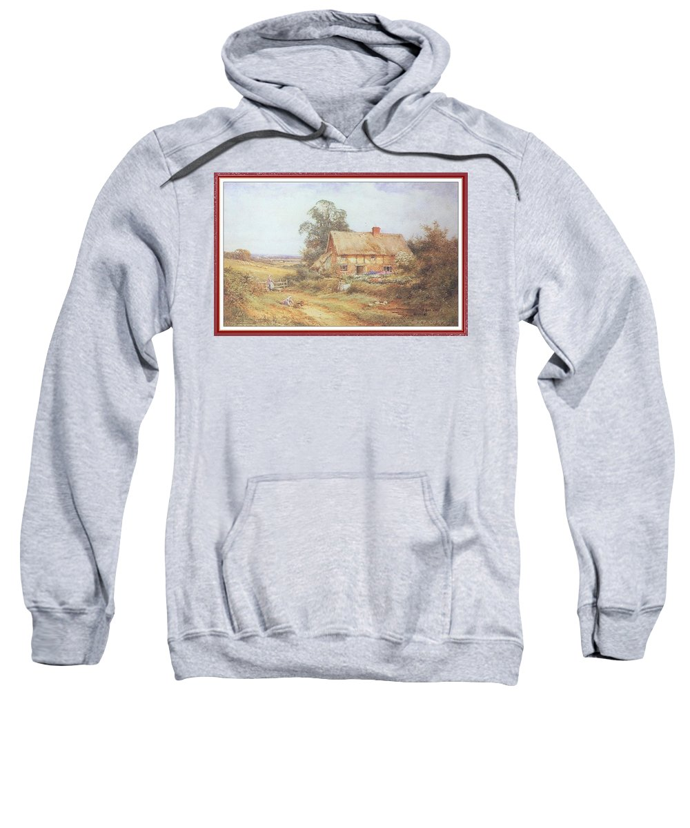 Puzzle Sweatshirt featuring the digital art Stannardhenryjohnsylvester Childrenoutsideacottage-we F024 Henry Sylvester Stannard by Eloisa Mannion