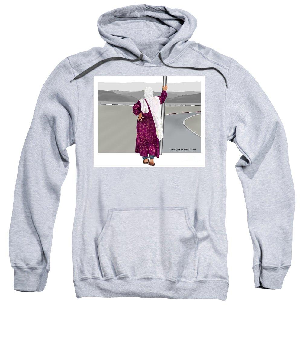 Sweatshirt featuring the digital art The Checkpoint by Yael Reshef