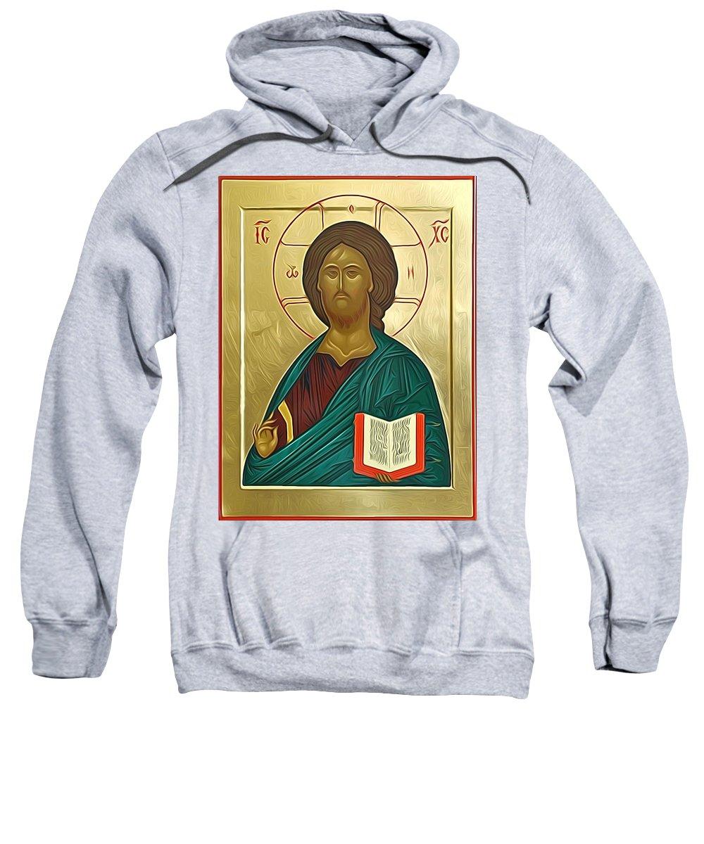 Jesus Sweatshirt featuring the digital art jesus Christ Son Of God by Carol Jackson