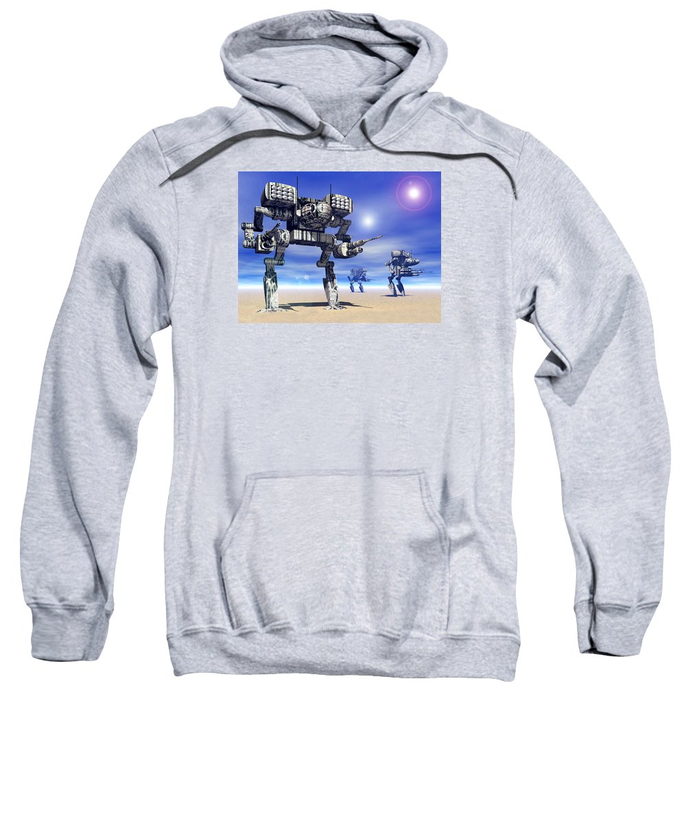 Science Fiction Sweatshirt featuring the digital art 501st Mech Trinary by Curtiss Shaffer