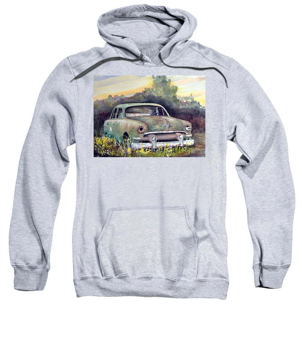 Car Sweatshirt featuring the painting 51 Ford by Sam Sidders