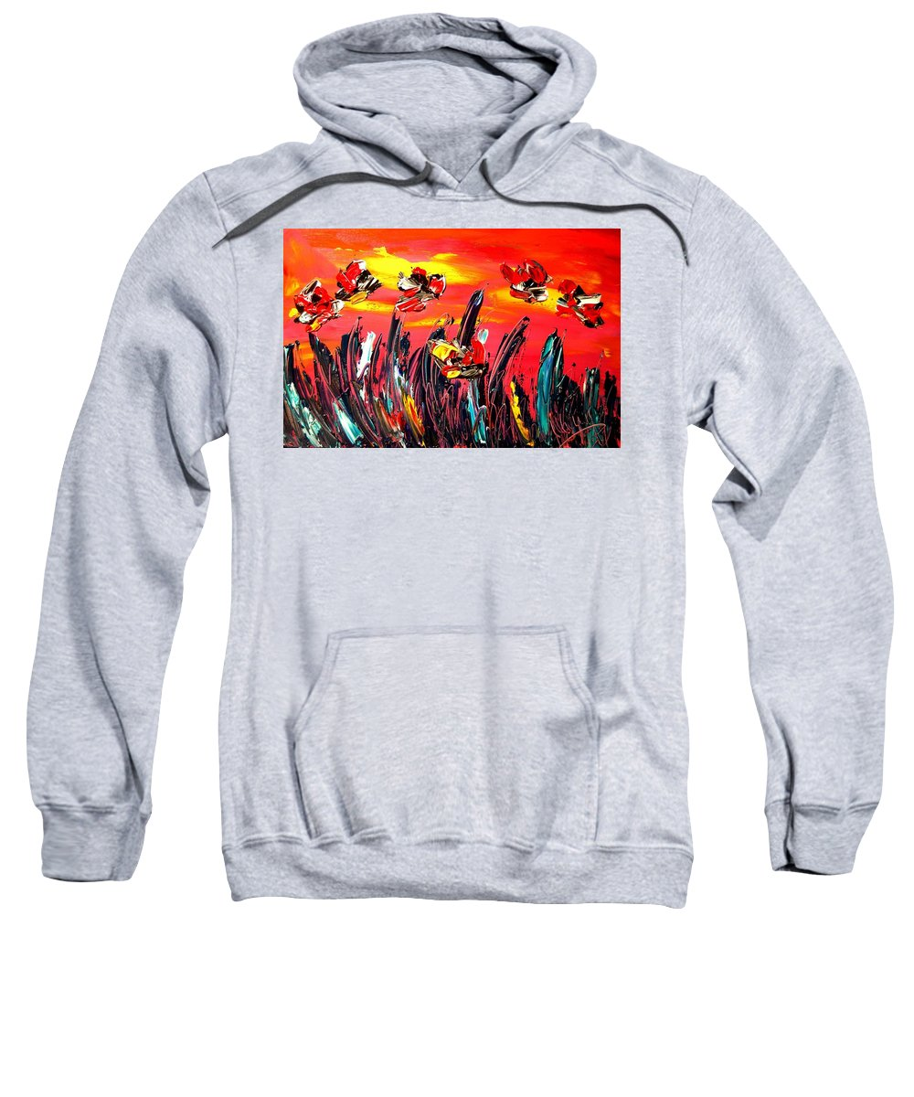 Surreal Framed Prints Sweatshirt featuring the painting Flowers by Mark Kazav