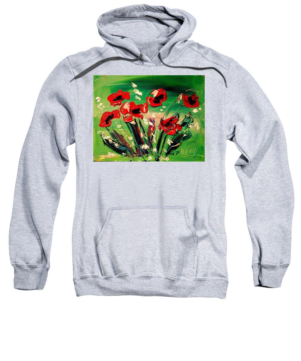 Amazing Framed Prints Sweatshirt featuring the painting Flowers by Mark Kazav
