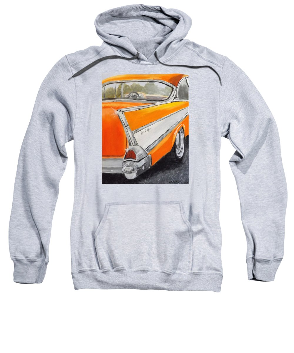 Car Sweatshirt featuring the painting '57 Tangerine by Pamela Anderson