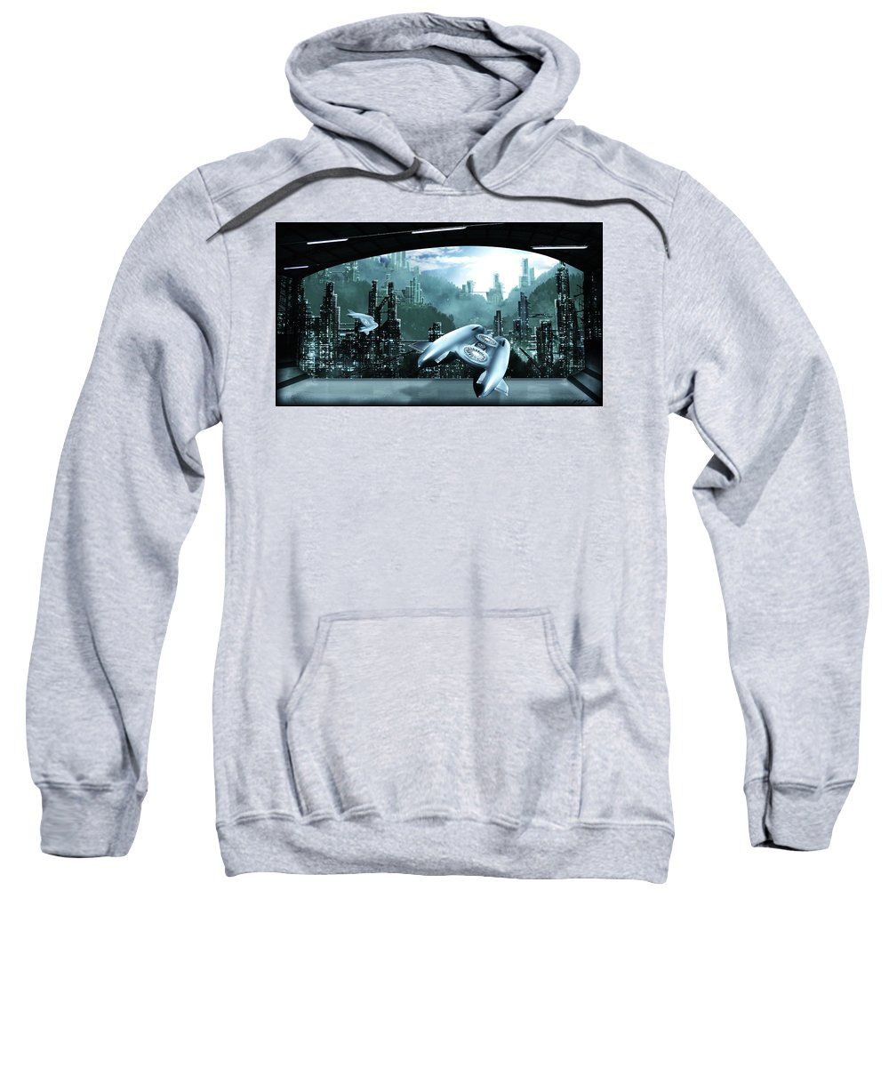 City Sweatshirt featuring the digital art City by Bert Mailer