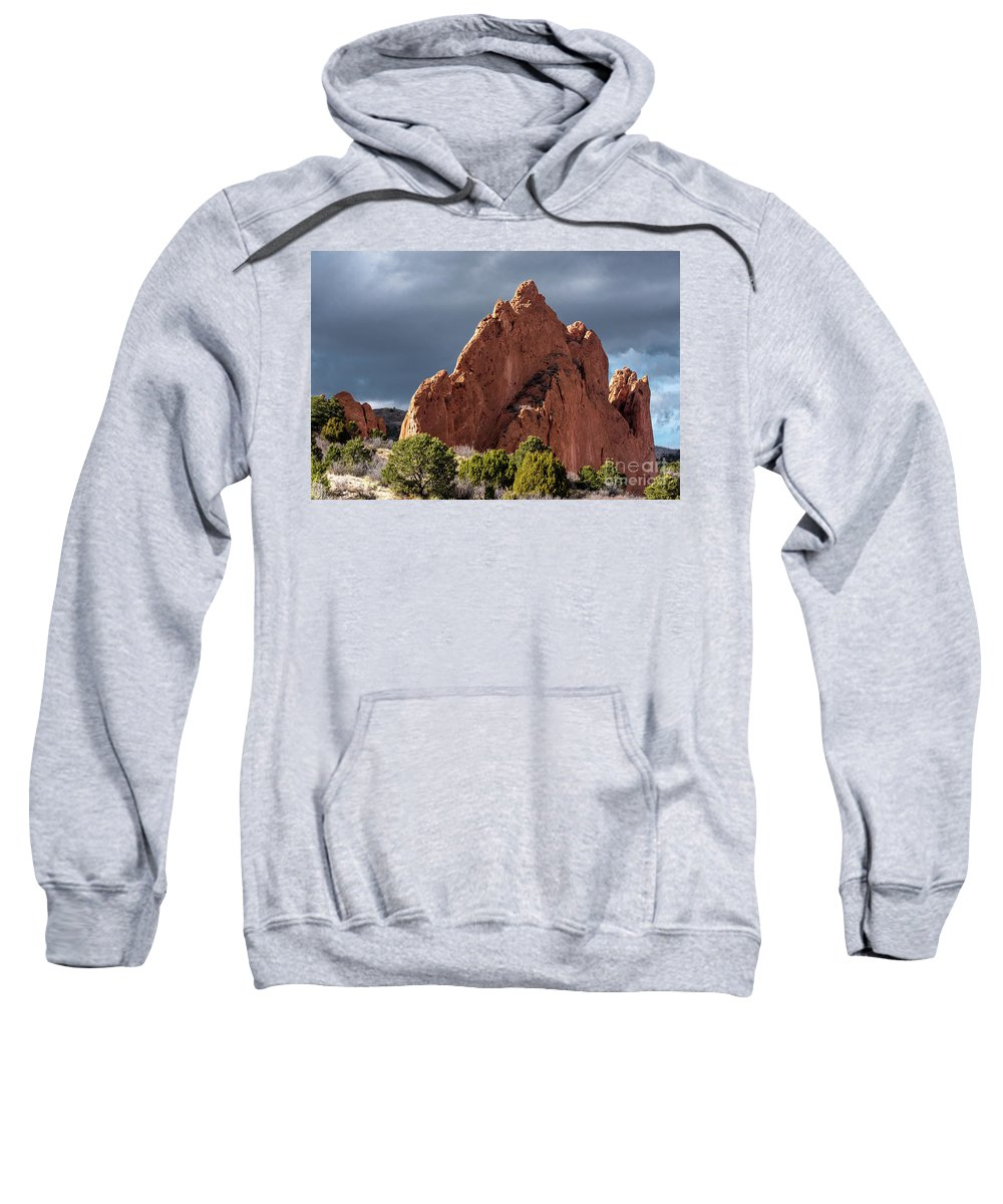 Colorado Springs Sweatshirt featuring the photograph Garden Of The Gods by Jennifer Mitchell