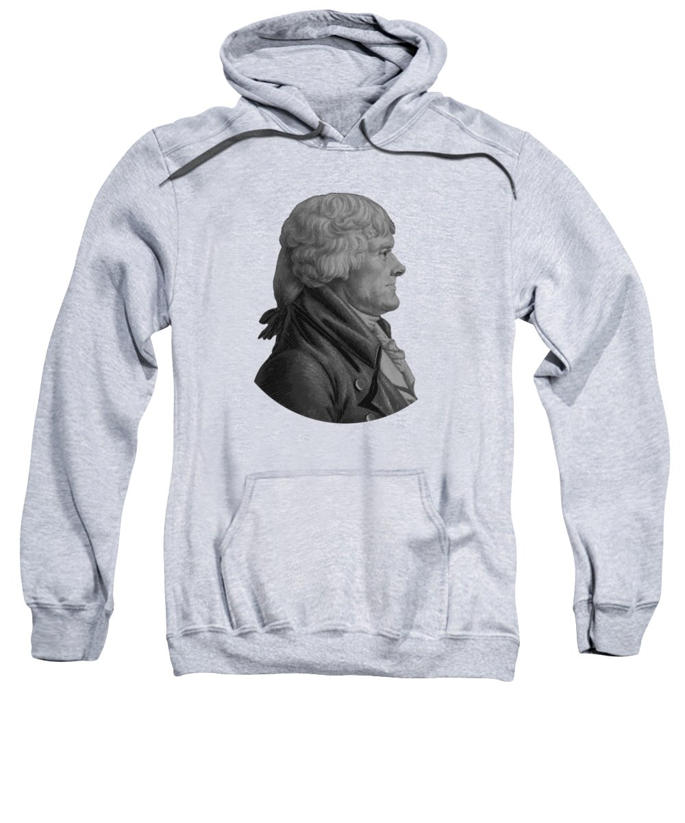 Thomas Jefferson Sweatshirt featuring the painting Thomas Jefferson Profile by War Is Hell Store