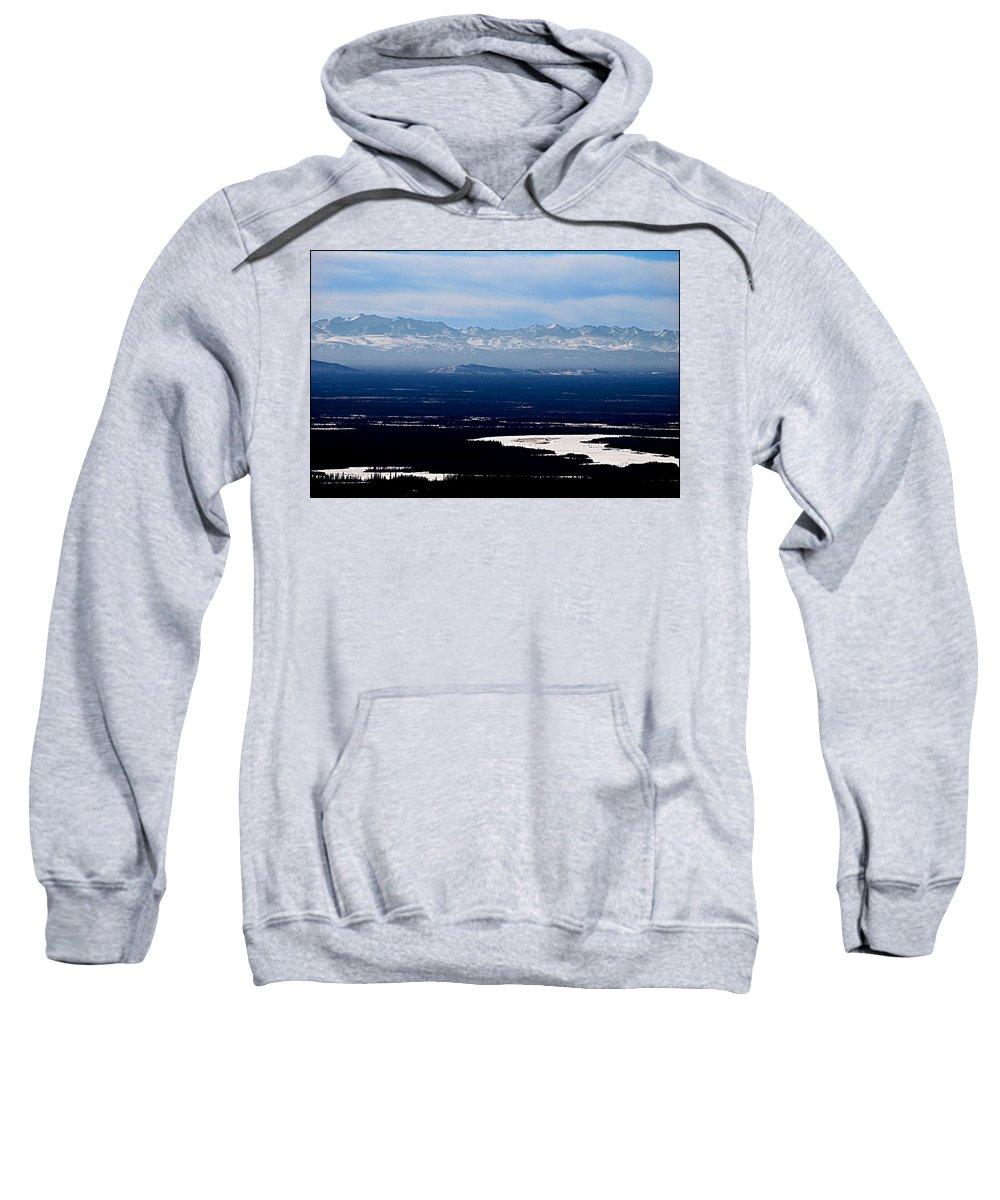Denali Park Alaska Snow Montain Blue Sky Landscape Artic Denali Park Alaska Snow Montain Blue Sky Landscape Artic Framed Prints Sweatshirt featuring the photograph Denali Park - Alaska by Galeria Trompiz