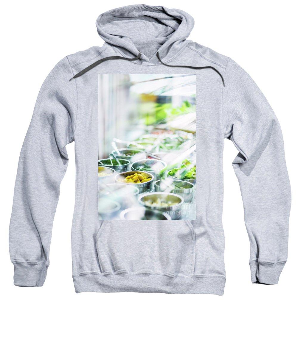 Buffet Sweatshirt featuring the photograph Salad Bar Buffet Fresh Mixed Vegetables Display by Jacek Malipan
